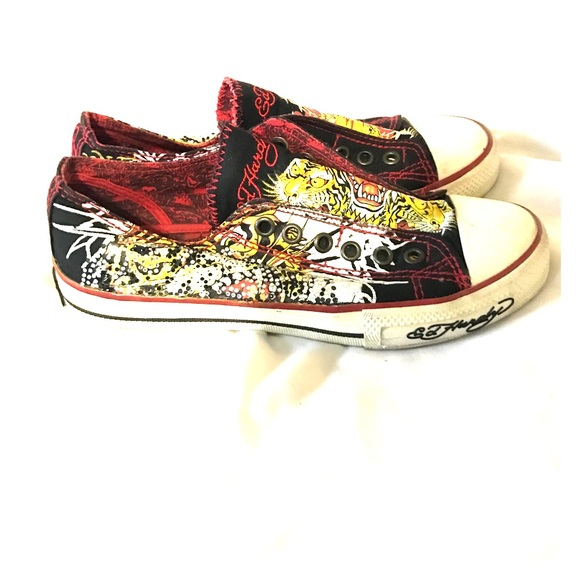 098b8a41a Ed Hardy Shoes | Edhardy Sneakers Size5 Black And Yellow Gold | Poshmark